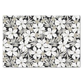 White tropical flowers on black tissue paper