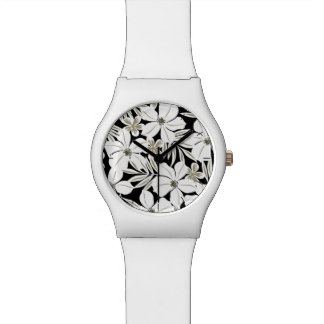 White tropical flowers on black watch