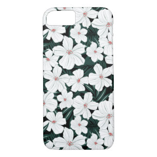 White Tropical Flowers Pattern iPhone 8/7 Case