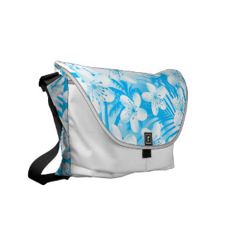 White tropical frangipani with palms messenger bags