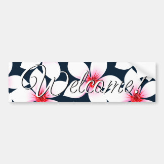White tropical hibiscus flowers bumper sticker