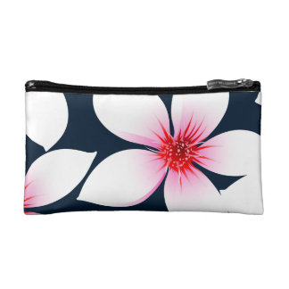 White tropical hibiscus flowers cosmetic bag