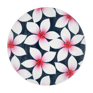 White tropical hibiscus flowers cutting board