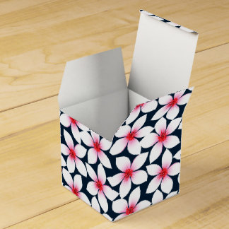White tropical hibiscus flowers favor box