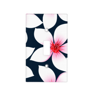 White tropical hibiscus flowers light switch cover