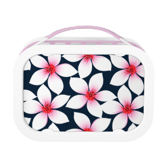 White tropical hibiscus flowers lunch box