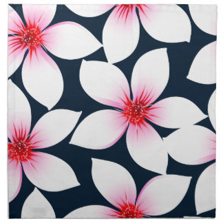 White tropical hibiscus flowers napkin