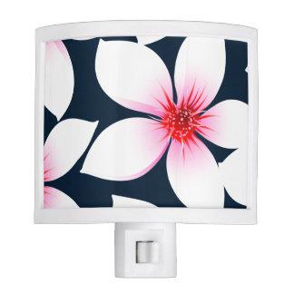 White tropical hibiscus flowers night lites