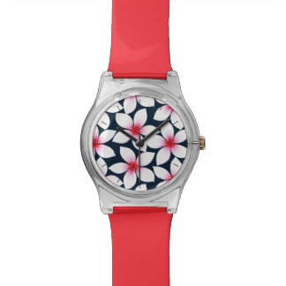White tropical hibiscus flowers wrist watches