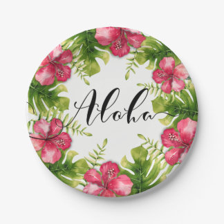 White Tropical Hibiscus Leaves ALOHA Wedding Party Paper Plate