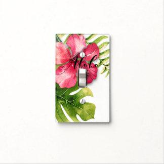White Tropical Hibiscus Leaves Chic Aloha Hawaiian Light Switch Cover