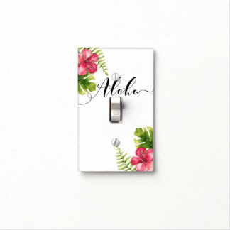 White Tropical Hibiscus Leaves Chic Aloha Hawaiian Light Switch Cover