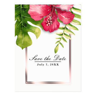 White Tropical Hibiscus Leaves Save the Date Postcard