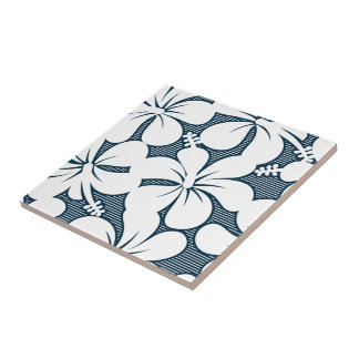 White tropical striped floral tile
