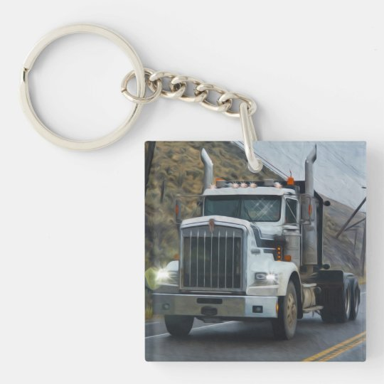White Truck Art for Lorry Drivers Double-Sided Square Acrylic Keychain