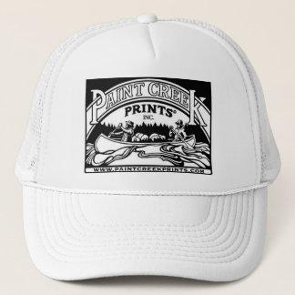 White Trucker Hat w/ Paint Creek Prints logo