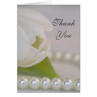 White Tulip and Pearls Bridesmaid Thank You Card