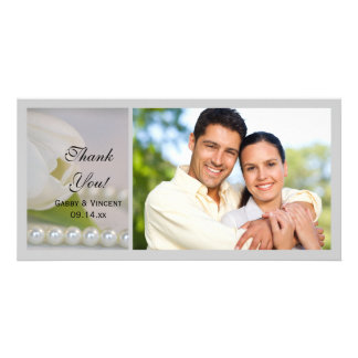 White Tulip and Pearls Spring Wedding Thank You Photo Card Template