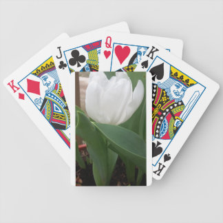 White Tulip Bicycle Playing Cards
