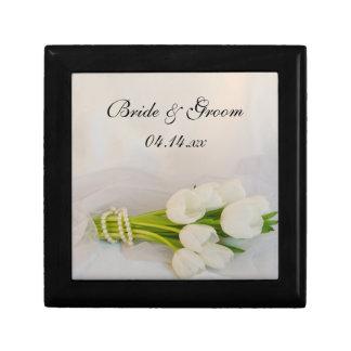 White Tulip Bouquet Spring Wedding Gift Box