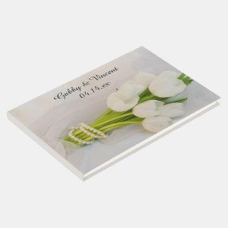White Tulip Bouquet Spring Wedding Guest Book