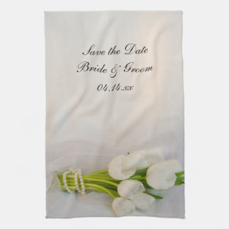 White Tulip Bouquet Spring Wedding Save the Date Kitchen Towel