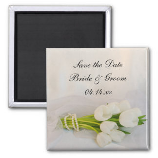 White Tulip Bouquet Spring Wedding Save the Date Magnet