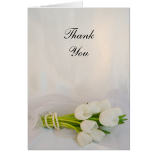 White Tulip Bouquet Spring Wedding Thank You Card
