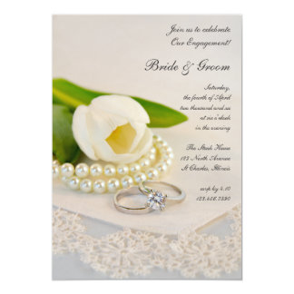 White Tulip, Pearls and Rings Engagement Party Card