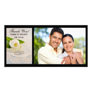 White Tulip, Pearls and Rings Wedding Thank You Photo Greeting Card