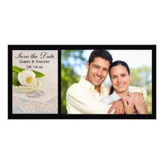 White Tulip, Pearls, Rings Wedding Save the Date Custom Photo Card