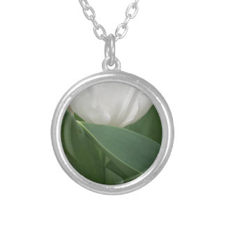 White Tulip Silver Plated Necklace