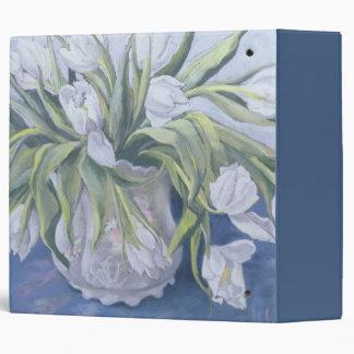 White Tulips 3 Ring Binder