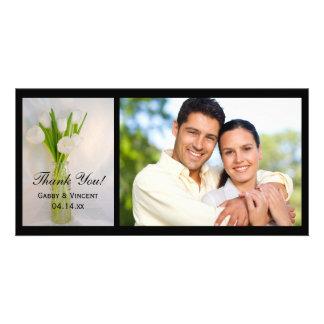 White Tulips Bottle Wedding Thank You Photo Card