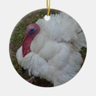 White Turkey Ceramic Ornament