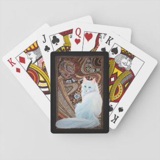 White Turkish Angora Playing Cards