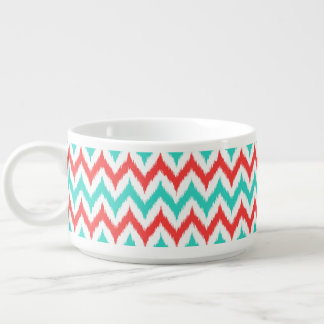 White, Turquoise and Coral Zigzag Ikat Pattern Bowl
