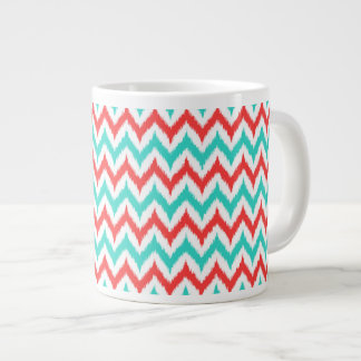 White, Turquoise and Coral Zigzag Ikat Pattern Large Coffee Mug
