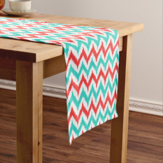 White, Turquoise and Coral Zigzag Ikat Pattern Short Table Runner