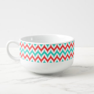 White, Turquoise and Coral Zigzag Ikat Pattern Soup Mug