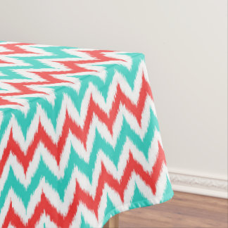 White, Turquoise and Coral Zigzag Ikat Pattern Tablecloth
