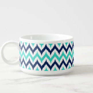 White, Turquoise and Navy Blue Zigzag Ikat Pattern Bowl
