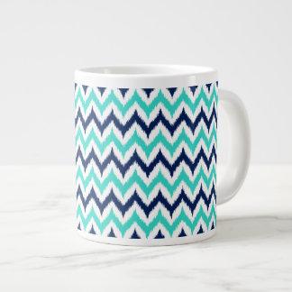 White, Turquoise and Navy Blue Zigzag Ikat Pattern Large Coffee Mug