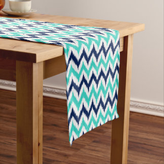 White, Turquoise and Navy Blue Zigzag Ikat Pattern Short Table Runner