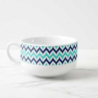 White, Turquoise and Navy Blue Zigzag Ikat Pattern Soup Mug
