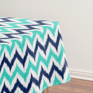 White, Turquoise and Navy Blue Zigzag Ikat Pattern Tablecloth