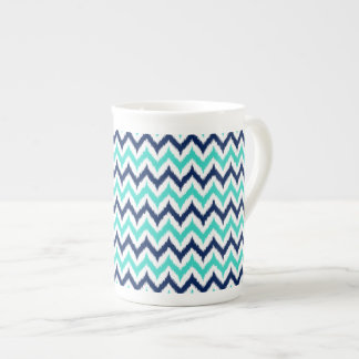 White, Turquoise and Navy Blue Zigzag Ikat Pattern Tea Cup
