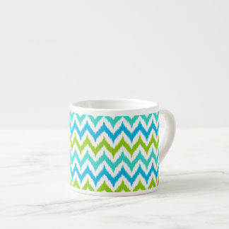 White, Turquoise, Green and Blue Zigzag Ikat