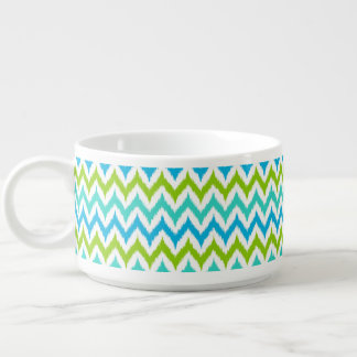 White, Turquoise, Green and Blue Zigzag Ikat Bowl