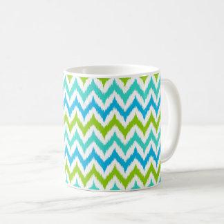 White, Turquoise, Green and Blue Zigzag Ikat Coffee Mug